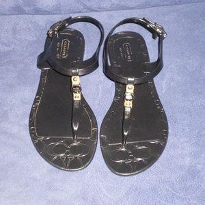 COACH Piccadilly Black Jelly Sandals sz 7B NICE!!